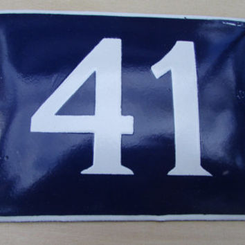 Vintage French House Number, Door Number 41, Preservede French Blue Enameled Sign Number 41, Street Sign Number 41, Blue Enamel Metal Plate