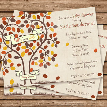 Fall In Love Baby Shower Invitation - Fall Baby Shower - Fall In Love Baby Shower - Boy or Girl - Tree - Rustic - Country