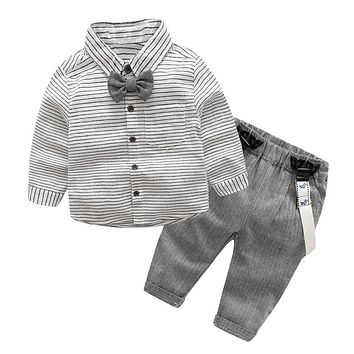 2pcs Toddler Kids Clothing Set Baby Boys Gentlemen Bow-knot Shirt + Suspender Pants Outfit Boys Fashion Clothes