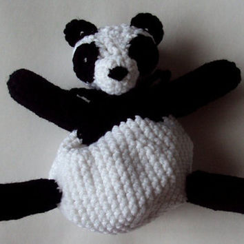 Crocheted Panda Pouch - Dice Bag, Coin Purse, Amigurumi