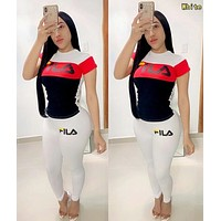 FILA Fashion Women Casual Shorts Sleeve Top Pants Two-Piece Set Sportswear White