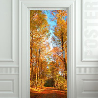 "Door STICKER road landscape seasonal fall autumn mural decole film self-adhesive poster 30""x79""(77x200 cm)"