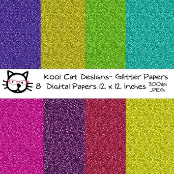 Glitter  Digital Paper Pack - Colorful Glitter Papers - Glitter Backgrounds - Glitter Patterns - Scrapbooking - Printable Paper
