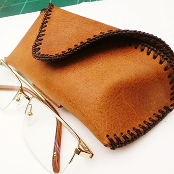 brown leather glasses case mans standard
