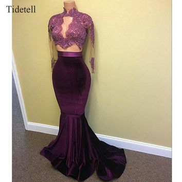 Tidetell 2 Piece Prom Dresses Purple Sparkling Long Party Dresses Mermaid Prom Dress Long Sleeves See-Through Velvet Prom Dress