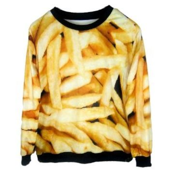 Ideasuke Women's Funny French Fries Sexy Pullover Sweatshirts for women
