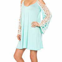Looking Glass Cold Shoulder Dress - Lace Sleeve - Mint