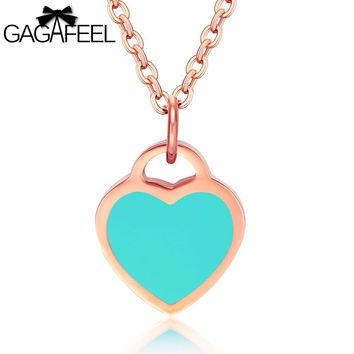 GAGAFEEL Heart Pendant Romantic Necklace Women Choker Diy Engrave Jewelry Rose Gold Color Stainless Steel Chain Clavicle