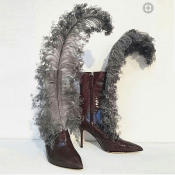 Feather Pointed Toe High Heel Calf Boots