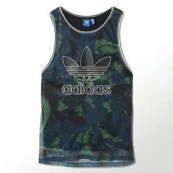 """Adidas"" Women Sports Casual Multicolor Feather Flower Print Sleeveless Vest T-shirt T"