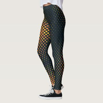 Pattern Navy Blue with Orange dots Yoga Legging