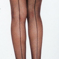 Black Fishnet with Back Seam Thigh Highs