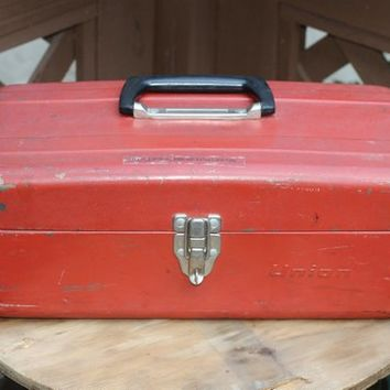 "Red Metal Toolbox Vintage 2 Tiers & Dividers Lockable | Handheld ""Union"" Tool Chest , Craft Box , Tackle Box 
