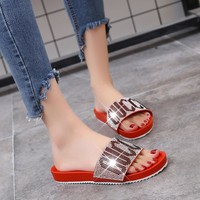 GUCCI Women Fashion Rhinestone Sandals Slipper Shoes