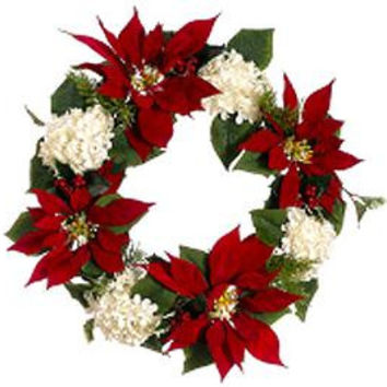 "Artificial Christmas Wreath - 22 ""  - Red Poinsettias"