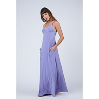 Slip A Line Long Dress - Pastel Purple
