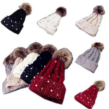 Newest Fashion Women Lady Girls Faux Fur Ball Winter Warm Crochet Knitted Hat Winter Warm Accessories Cap Beanie