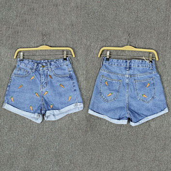 Blue Patch Detail Denim Shorts