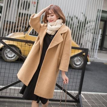 Autumn and Winter Medium Style Solid Color All-Match Loose Turn-down Collar Three Quarter Sleeve Overcoat Women's Clothing
