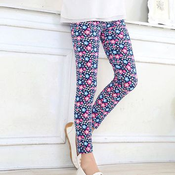 Pink Blue Mini Floral Leggings