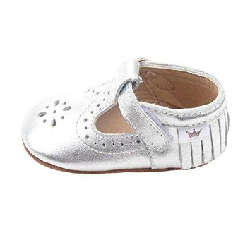 Liv & Leo Baby Girls Mary Jane Sandals Moccasins Soft Sole Crib Shoes Slip-On Leather (0-6 Months)