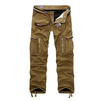 Men's Fleece Cargo Pants Male Tactical Pants Winter Camouflage Trousers For Men Multi Pocket Army Style Pants Overall Plus Size