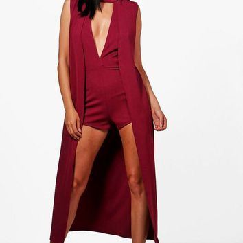 Vickie Plunge Playsuit & Duster Co-ord | Boohoo