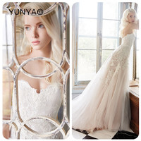 Hot selling sweetheart neckline with appliques flower white tulle wedding dresses country style rechi de mireasa western brides