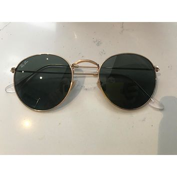 Ray-Ban Round Metal Gold Unisex Sunglasses