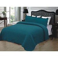 Full / Queen size 100% Cotton Quilted Bedspread in Turquoise