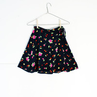 cherry rose skirt - 90s vintage mini skirt - women size small xs - cherries floral flower print  - black - Maxou