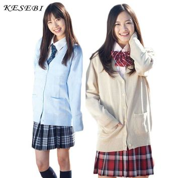Sweater Women Japanese School Uniform Cardigan Women Winter Students Girl Single Breasted Basic Female V-neck Cardigans Sweaters