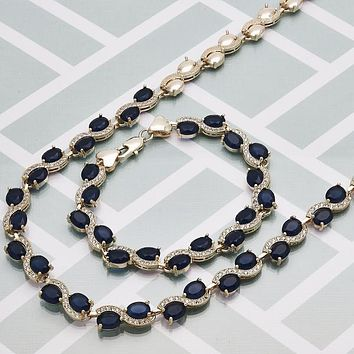 Gold Layered Women Heart Necklace and Bracelet, with Sapphire Blue Cubic Zirconia, by Folks Jewelry