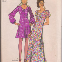 Vintage 1970s pattern for mini or maxi length dress with full sleeves and flared skirt misses size 14 Simplicity 9446 CUT and COMPLETE