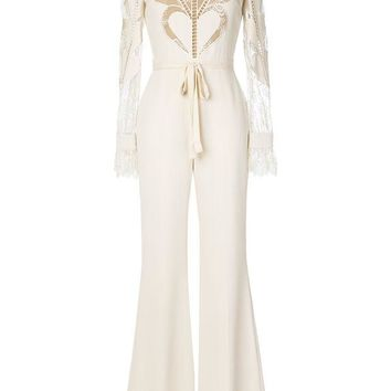 DCCKIN3 Elie Saab Heart Lace Panel Flared Jumpsuit