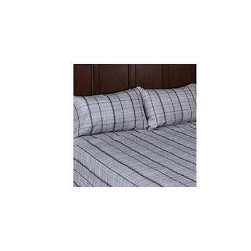 Mainstays Microfiber Sheet Set, Gray Plaid, Full