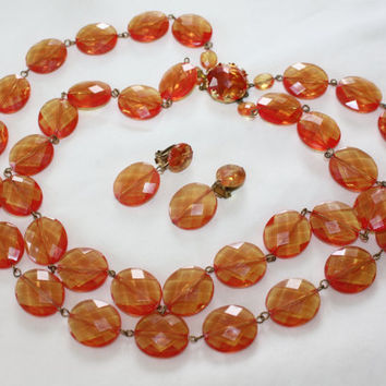 Vintage Orange  Double Strand Necklace, Fall Lucite Bead Necklace,1950s Jewelry