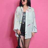 vintage 80s graphic print shirt slouchy oversized menswear geometric pastel grunge web shirt top digital duster jacket large