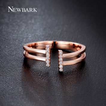 NEWBARK Opening Letter T Ring Watting For Lover's Engagement Rings For Women Adjustable Anillos Tiny CZ Diamond Paved Jewelry
