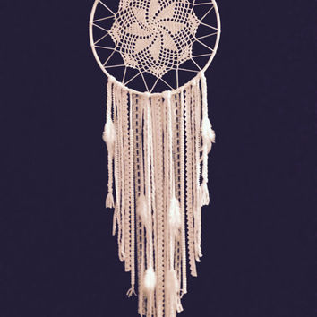 Huge White Dream Catcher/ Crochet Doily Dream Catcher/ Handmade Dream Catcher