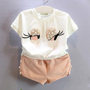 Summer Girls Clothing Sets Eyes White Color T-shirt+Pearl Solid Shorts Pants Children Clothing For Baby Girls Kids Clothes Sets