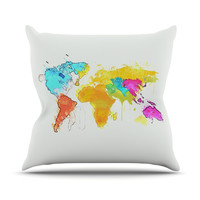 "Oriana Cordero ""World Map"" Rainbow White Outdoor Throw Pillow"