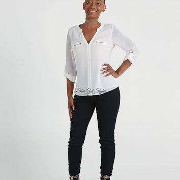 Roxanne White Roll-Up Sleeve Blouse