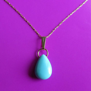 14k Gold AAA Untreated Precious Sleeping Beauty Turquoise Smooth Briolette Pendant .86g