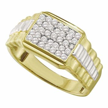 10kt Yellow Gold Men's Round Diamond Rectangle Cluster Ribbed Two-tone Ring 1/2 Cttw - FREE Shipping (US/CAN)