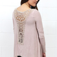 Mineral Wash Lace Back Patch Top {Mauve}