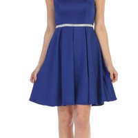 Royal Blue Short Cocktail Dress Beaded Waist