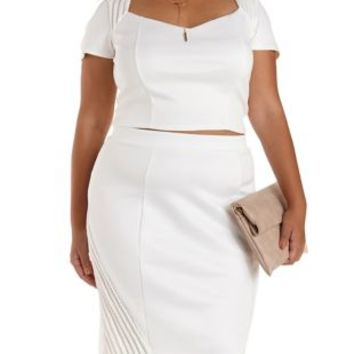 Plus Size White Mesh Cut-Out Caged Crop Top by Charlotte Russe