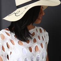 Love Embroidered Straw Hat