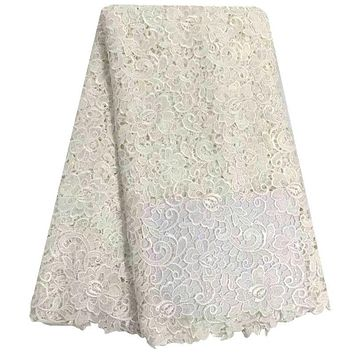 Latest African Cord Lace High Quality Guipure Lace Fabric Chemical Water Soluble Embroidery For Wedding Dress